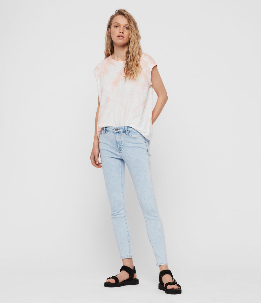 Womens Grace Cropped Skinny Mid-Rise Jeans, Snow Blue (snow_blue) - Image 3
