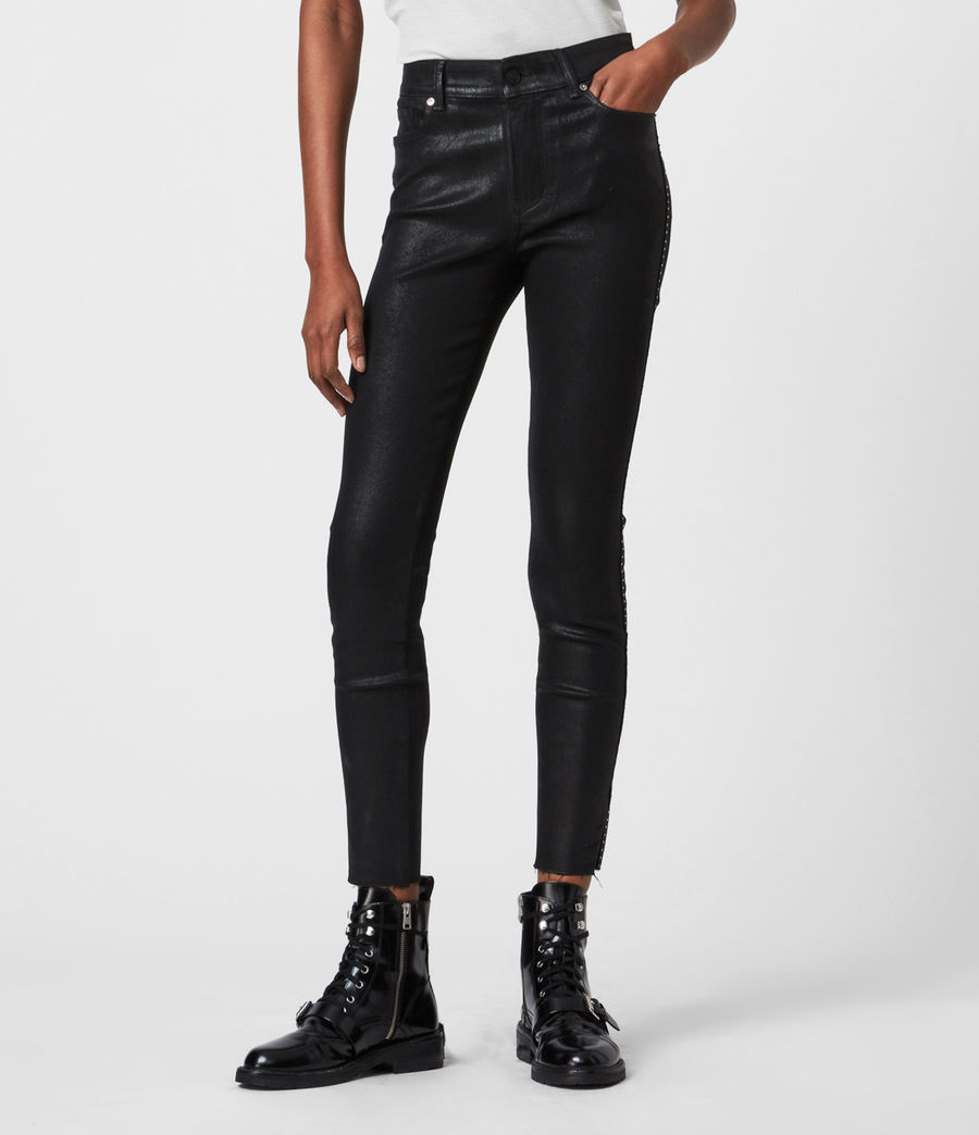Mujer Miller Mid-Rise Ministud Superstretch Skinny Jeans, Coated Black (coated_black) - Image 6
