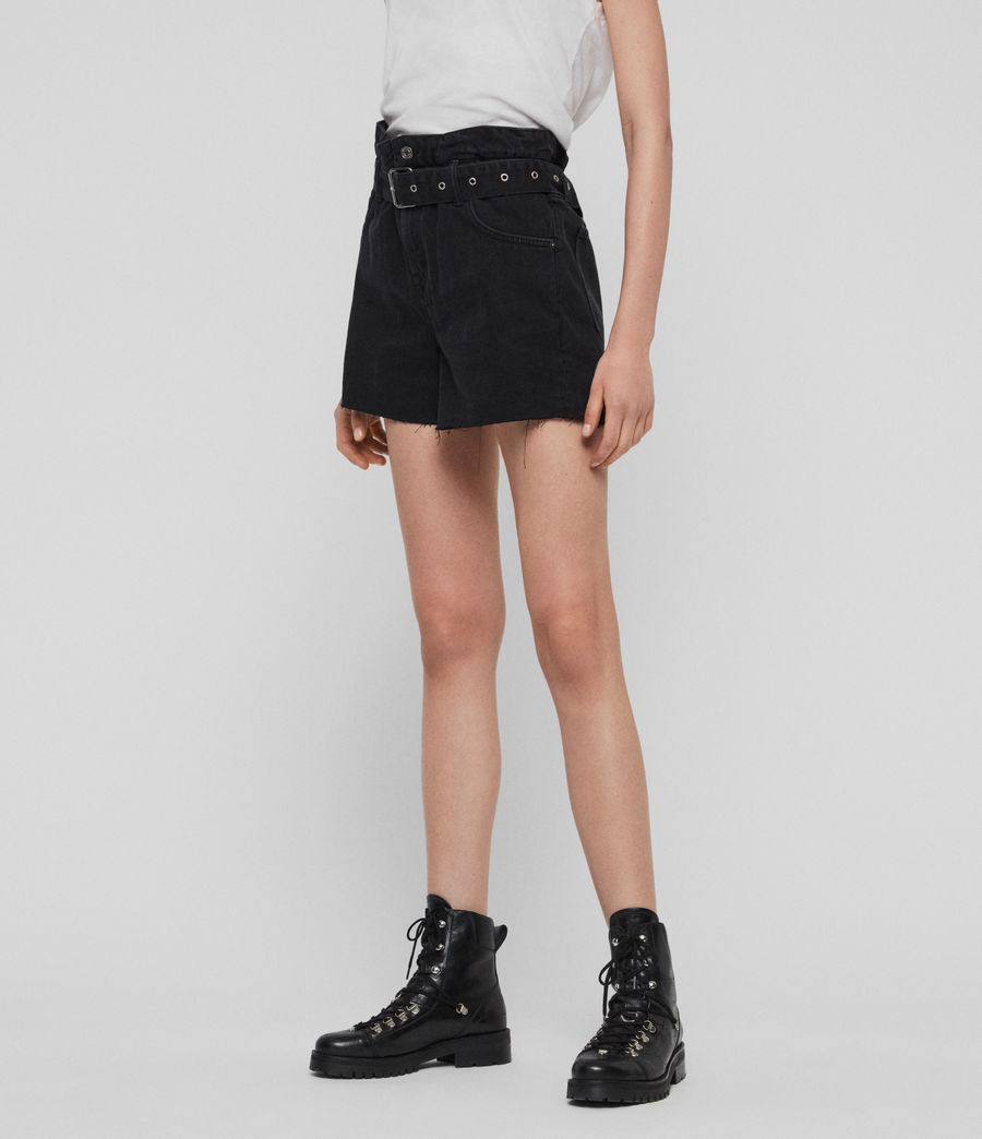 Women's Hannah Paperbag High-Rise Denim Shorts (black) - Image 3