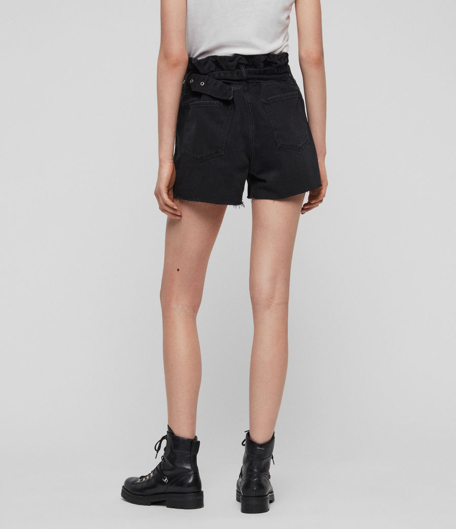 Women's Hannah Paperbag Denim Shorts (black) - Image 4