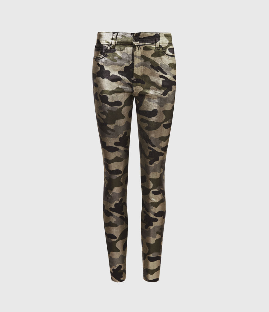 Womens Miller Mid-Rise Camouflage Superstretch Skinny Jeans, Gold (gold) - Image 2