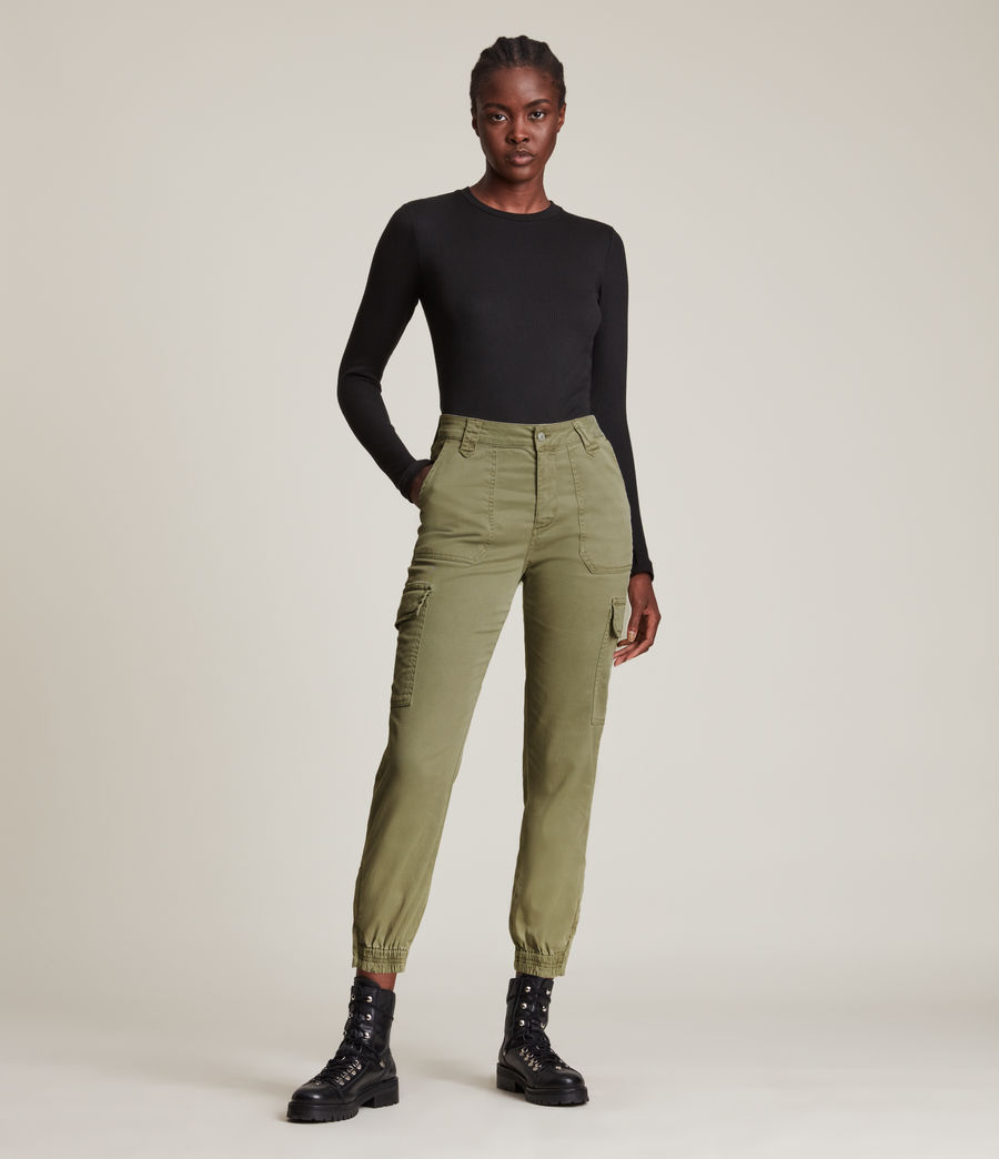 Femmes Jogging Cargo Slim Taille Haute Nola (khaki_green) - Image 1