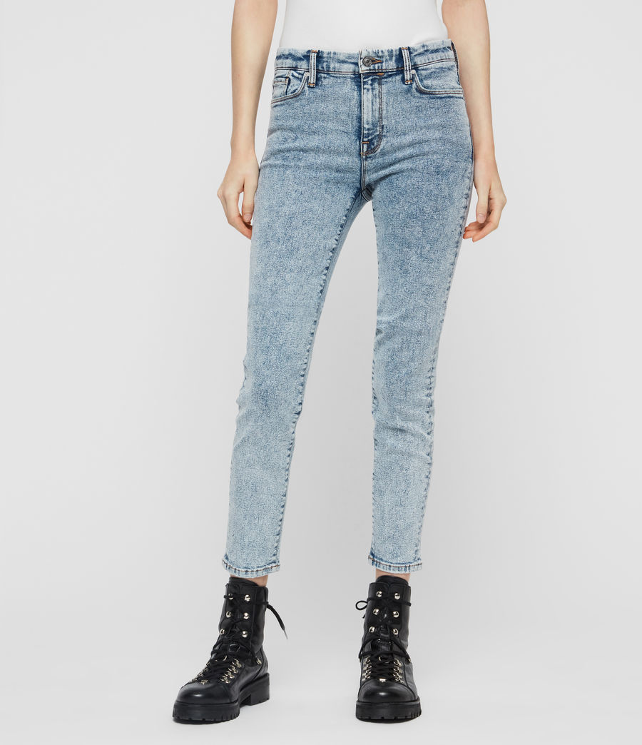 Women's Grace Cropped Skinny Mid-Rise Jeans, Acid Washed Indigo (acid_washed_indigo) - Image 1