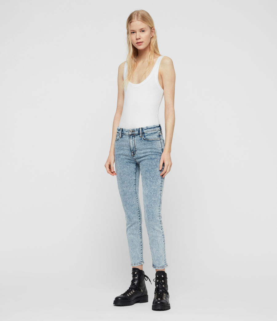Women's Grace Cropped Skinny Mid-Rise Jeans, Acid Washed Indigo (acid_washed_indigo) - Image 3