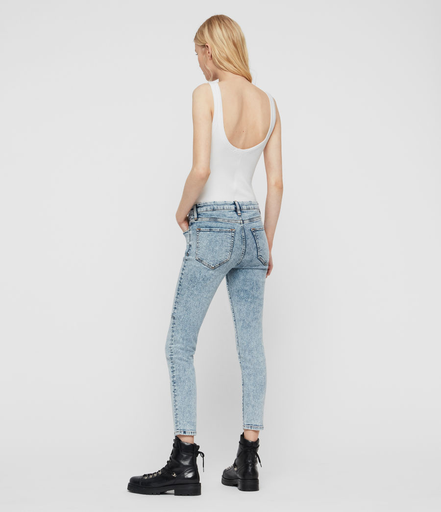 Women's Grace Cropped Skinny Mid-Rise Jeans, Acid Washed Indigo (acid_washed_indigo) - Image 6