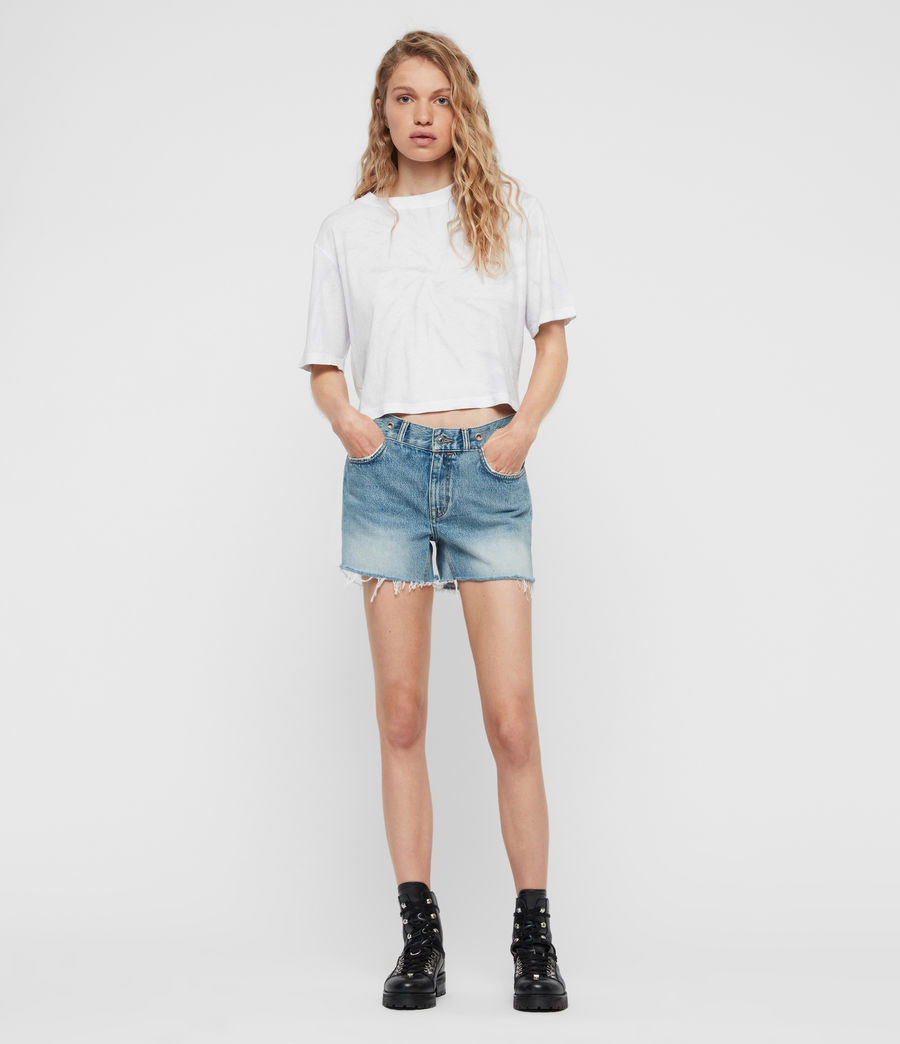 Women's Everly Eyelet Low-Rise Denim Shorts (light_indigo_blue) - Image 1
