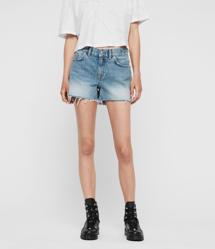 Women's Everly Eyelet Low-Rise Denim Shorts (light_indigo_blue) - Image 3