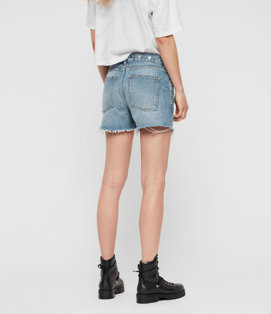 Women's Everly Eyelet Low-Rise Denim Shorts (light_indigo_blue) - Image 6