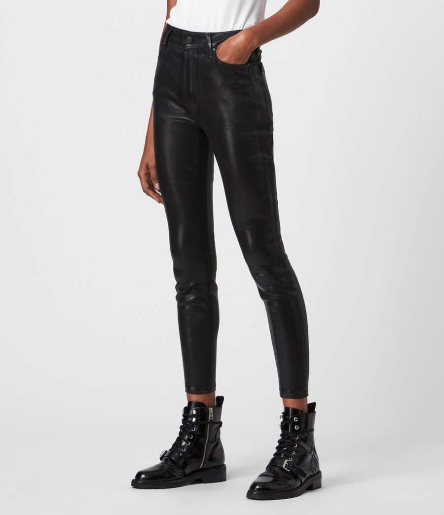 Women's Alex High-Rise Coated Superstretch Skinny Jeans, Black (black) - Image 4