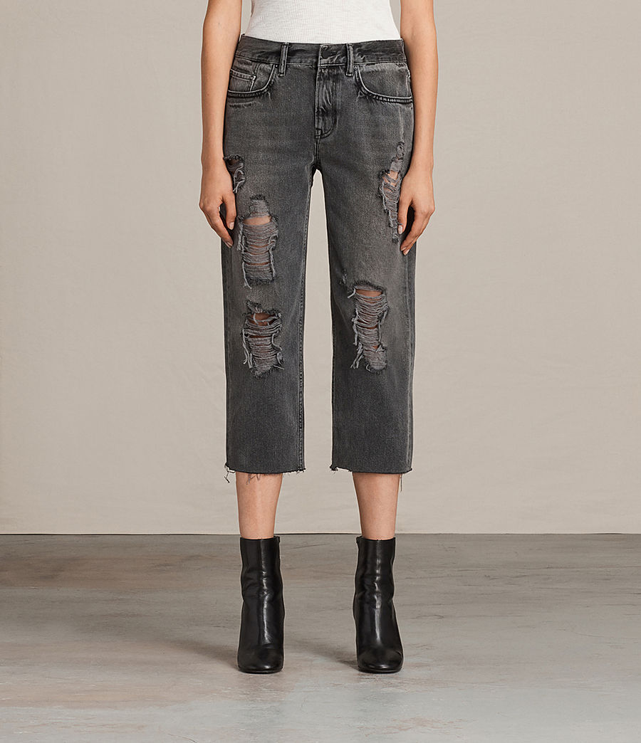 Womens Ivy Destroys Boys Jeans (grey) - Image 1