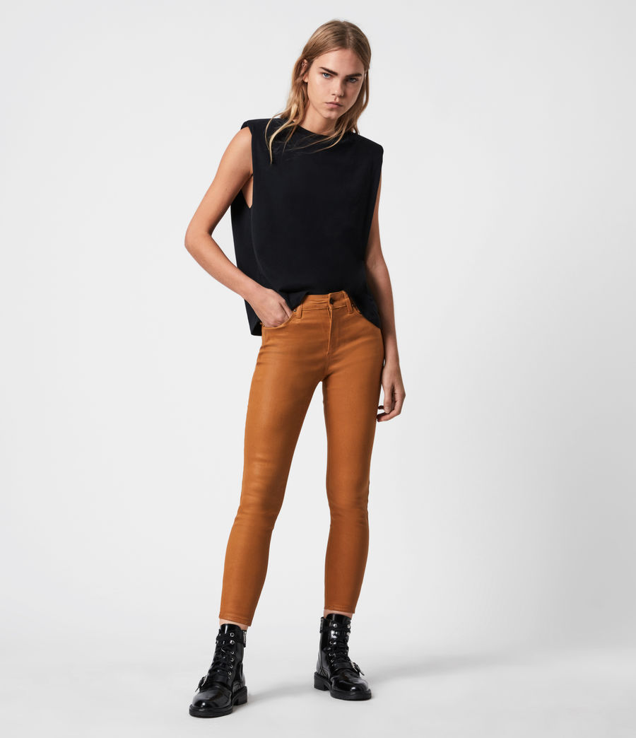 Women's Miller Mid-Rise Coated Skinny Jeans, Mustard Yellow (mustard_yellow) - Image 1
