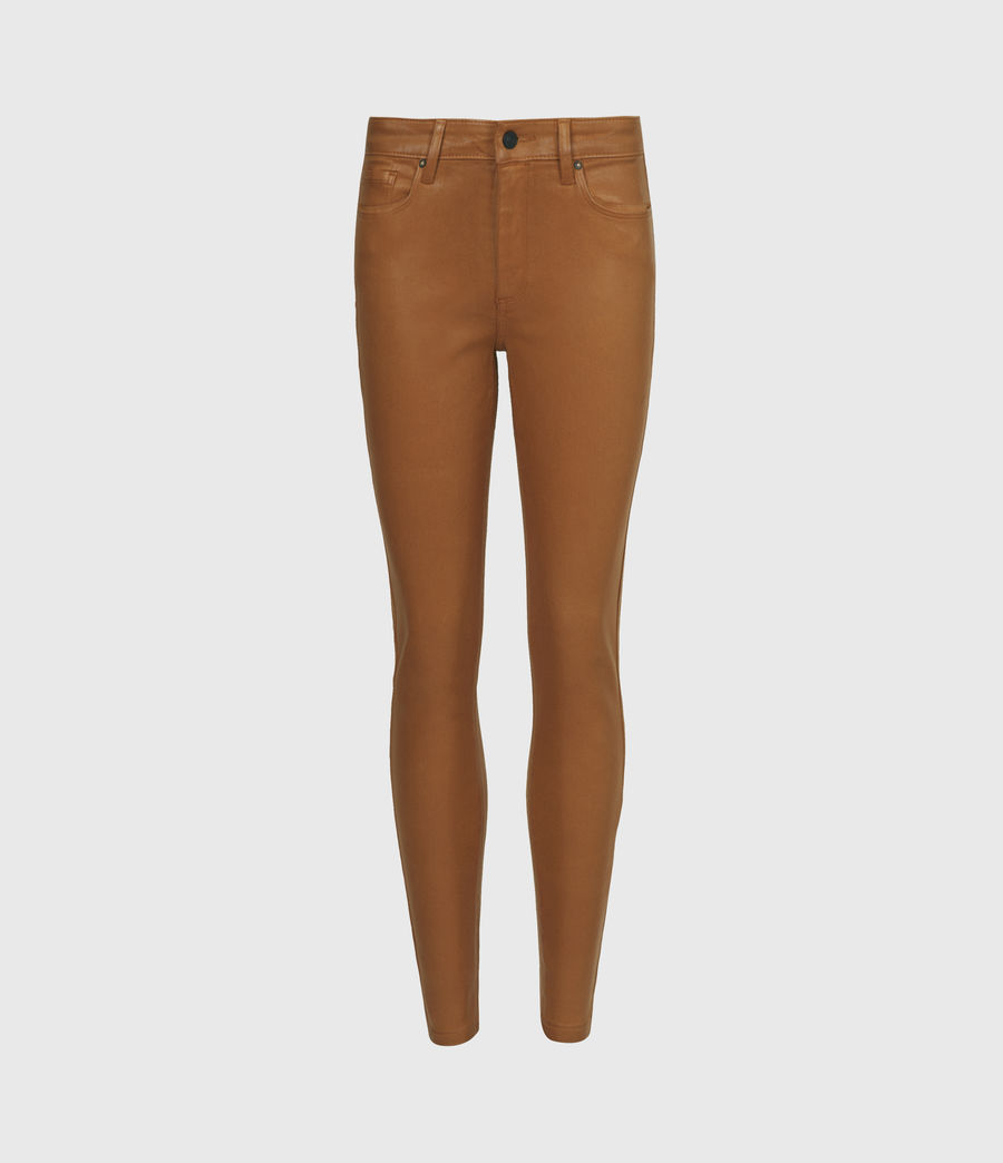 Women's Miller Mid-Rise Coated Skinny Jeans, Mustard Yellow (mustard_yellow) - Image 2