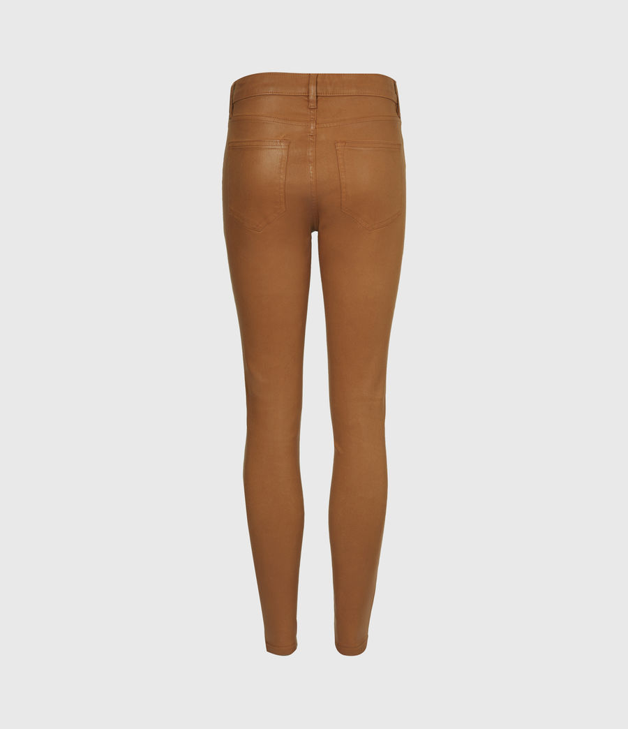 Women's Miller Mid-Rise Coated Skinny Jeans, Mustard Yellow (mustard_yellow) - Image 3
