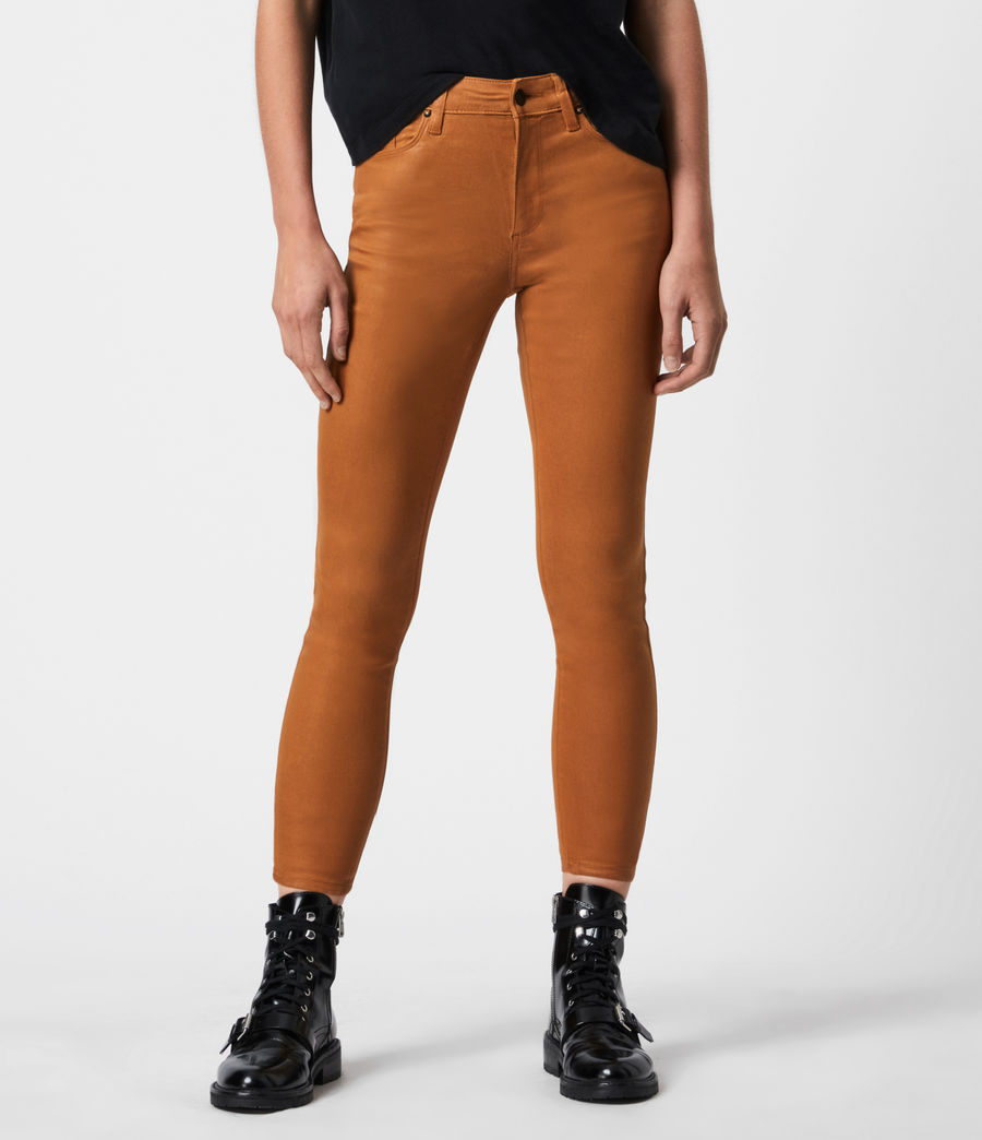 Women's Miller Mid-Rise Coated Skinny Jeans, Mustard Yellow (mustard_yellow) - Image 4