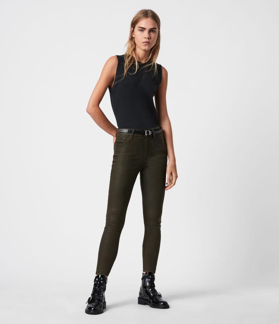 Womens Miller Mid-Rise Coated Skinny Jeans, Khaki Green (khaki_green) - Image 1
