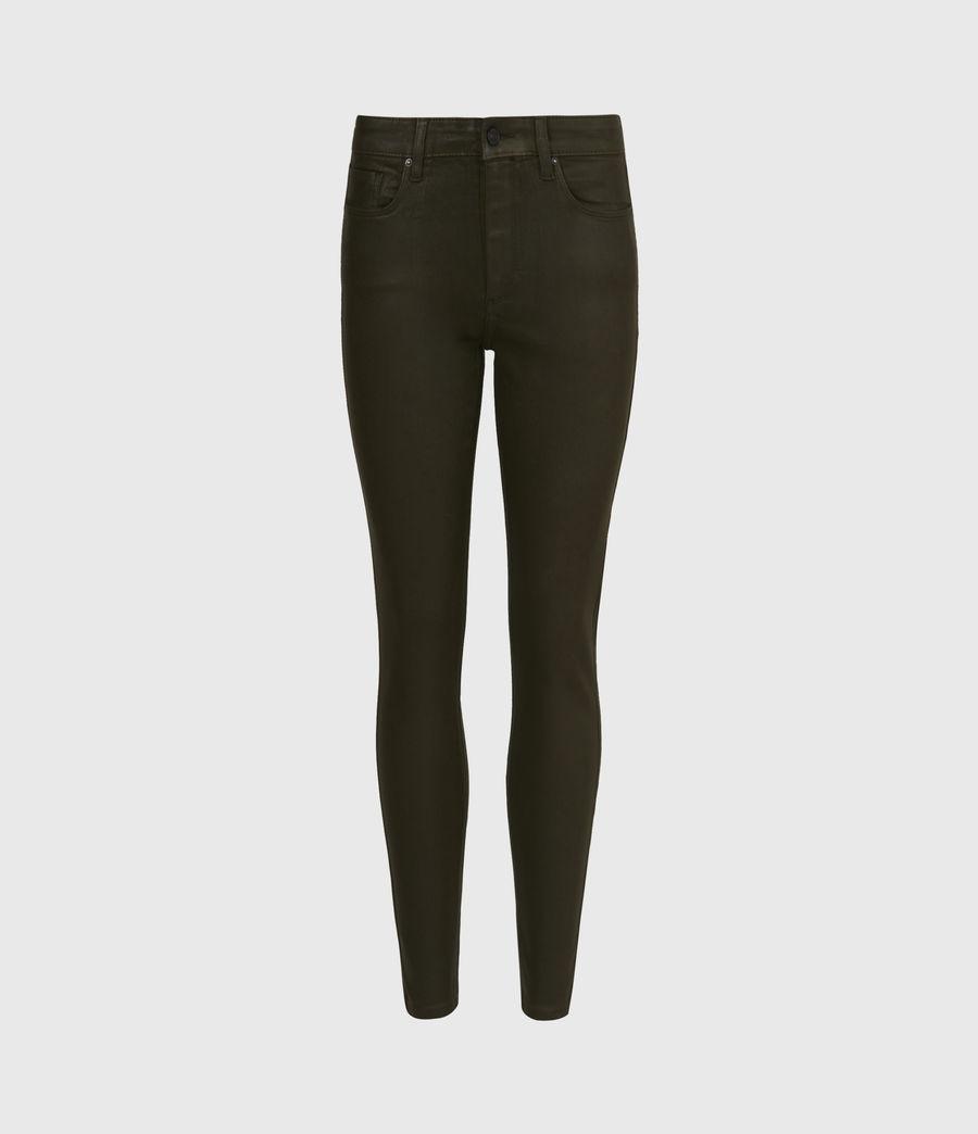 Womens Miller Mid-Rise Coated Skinny Jeans, Khaki Green (khaki_green) - Image 2