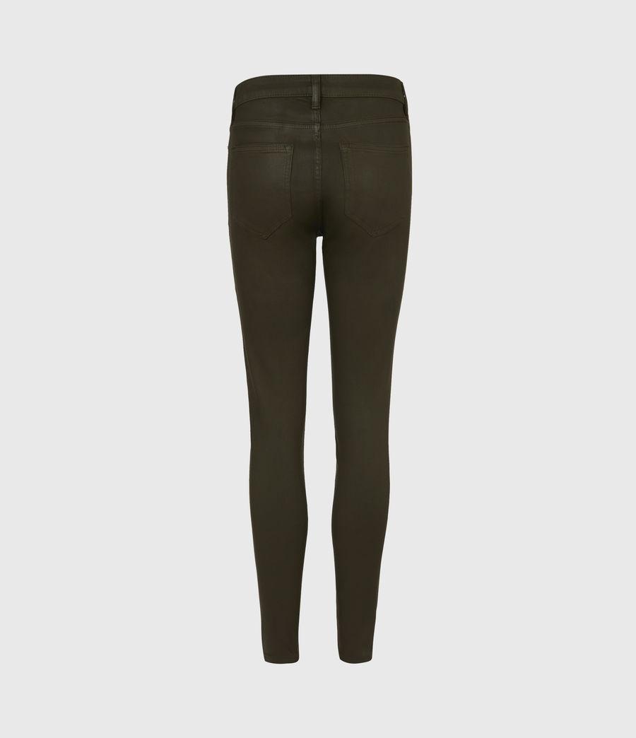 Womens Miller Mid-Rise Coated Skinny Jeans, Khaki Green (khaki_green) - Image 3