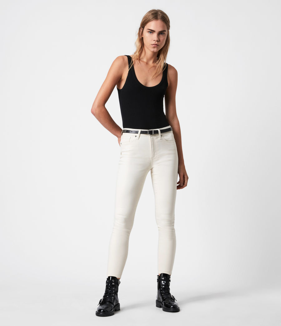 Womens Miller Mid-Rise Coated Skinny Jeans, White (white) - Image 1
