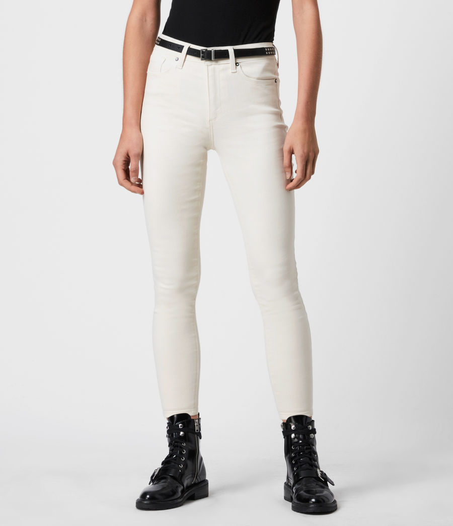 Womens Miller Mid-Rise Coated Skinny Jeans, White (white) - Image 4
