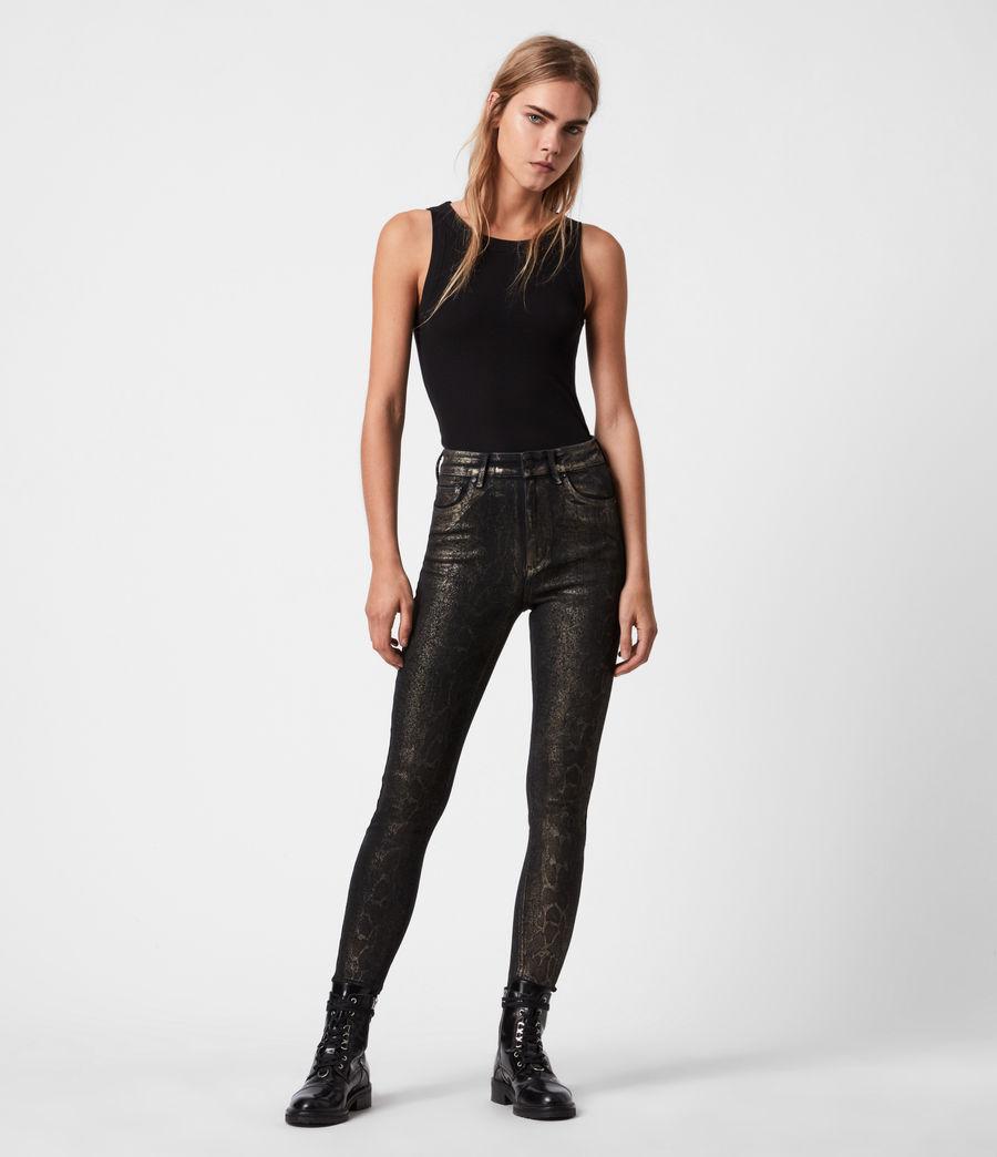 Damen Miller Mittelhoch-Tailliert Skinny Snake Jeans, Schwarz (black_gold) - Image 1