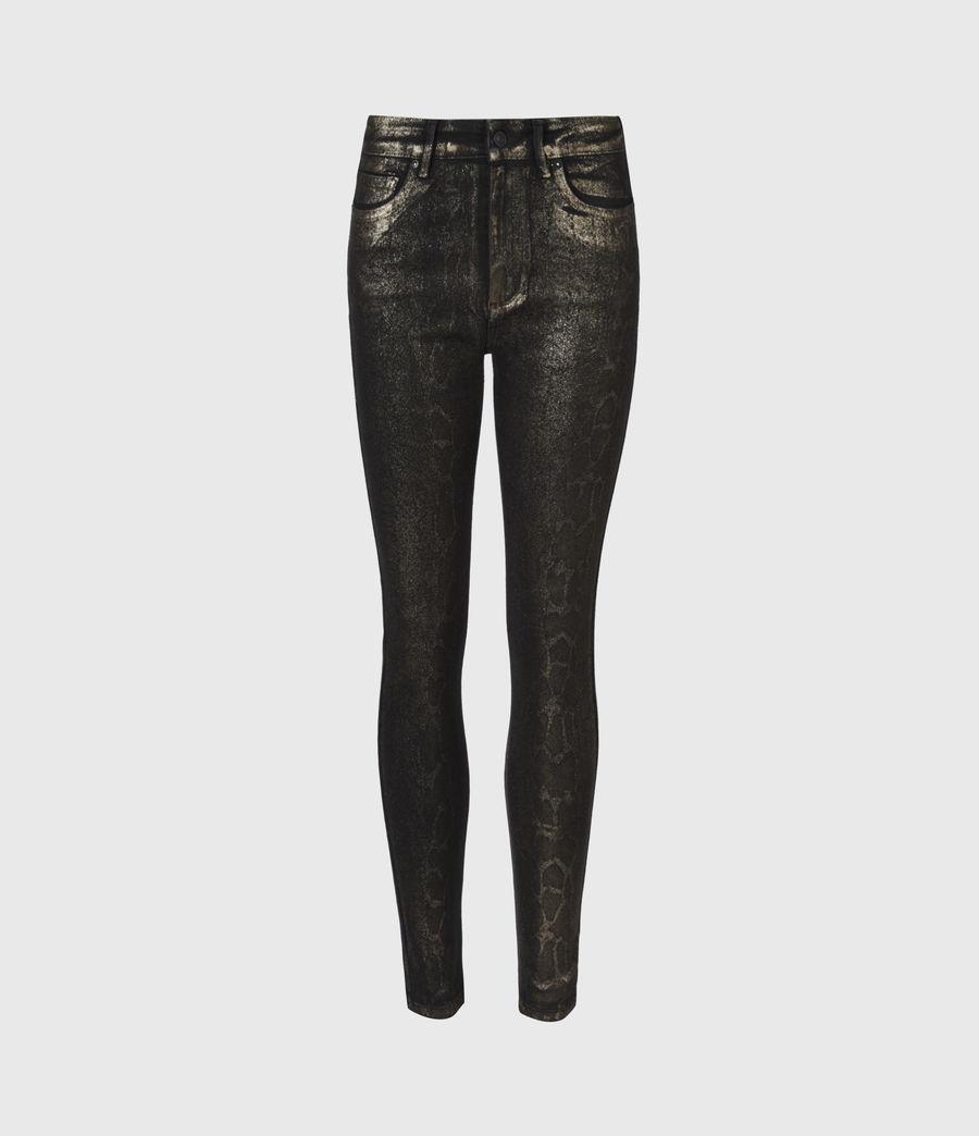 Damen Miller Mittelhoch-Tailliert Skinny Snake Jeans, Schwarz (black_gold) - Image 2