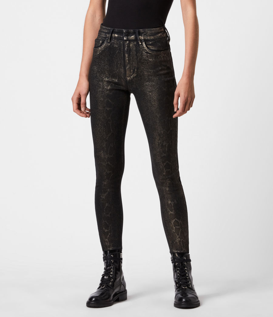 Damen Miller Mittelhoch-Tailliert Skinny Snake Jeans, Schwarz (black_gold) - Image 4