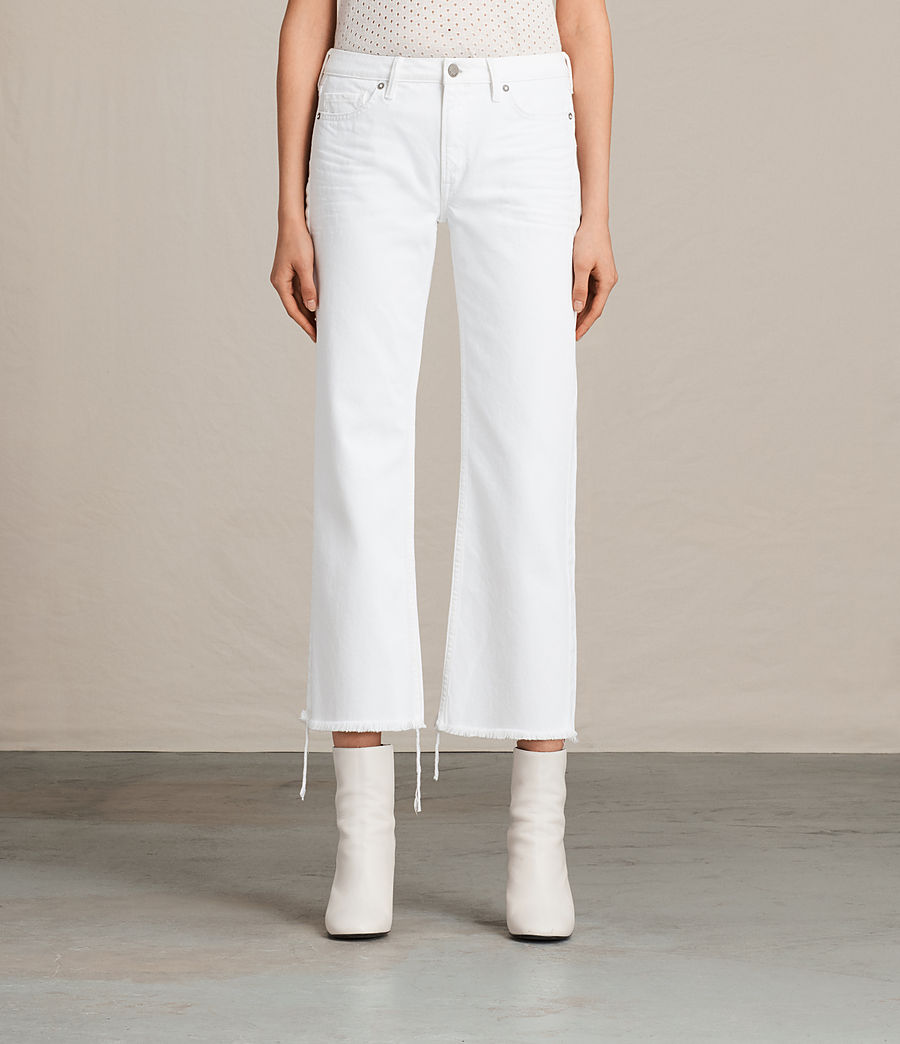 Women's Belle Cropped Flare Jeans (white) - Image 1