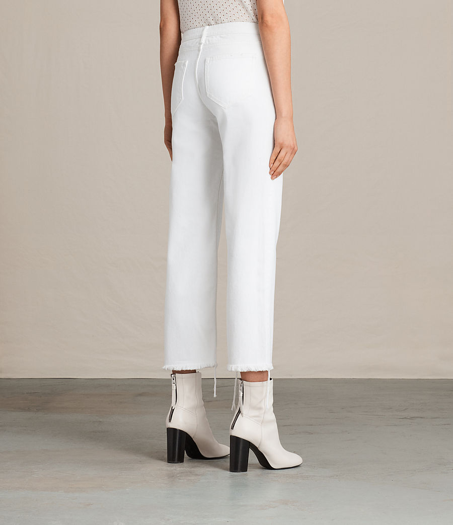 Women's Belle Cropped Flare Jeans (white) - Image 4