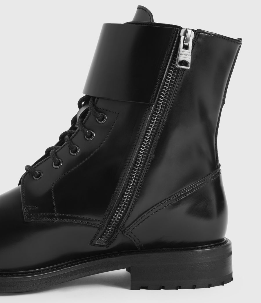 Women's Brigade Leather Boots (black) - Image 2