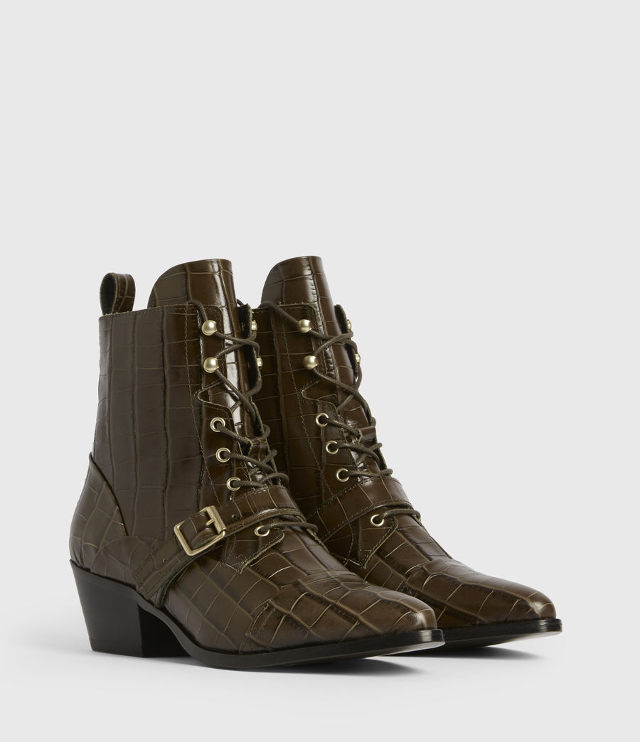 Womens Katy Leather Boots (dark_khaki) - Image 3