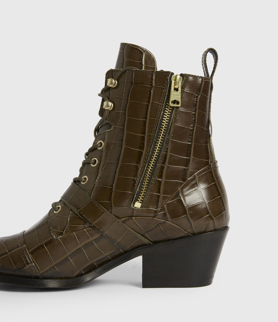 Womens Katy Leather Boots (dark_khaki) - Image 4