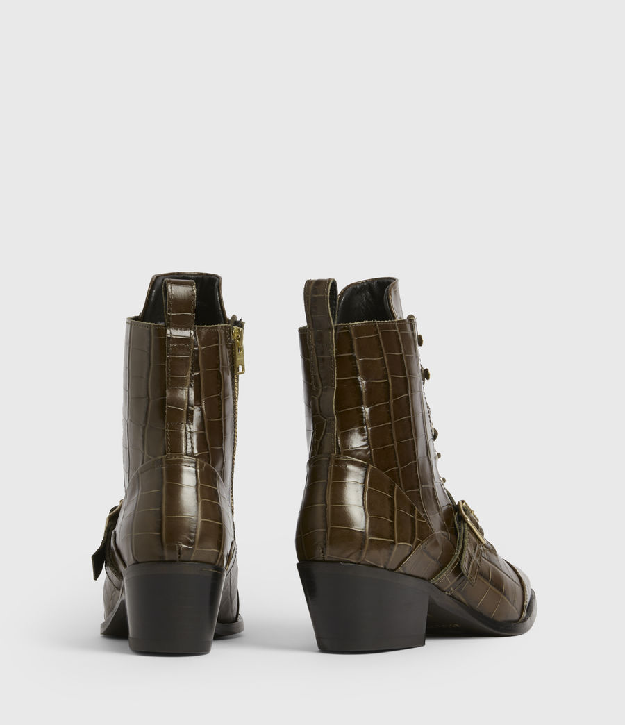 Womens Katy Leather Boots (dark_khaki) - Image 5