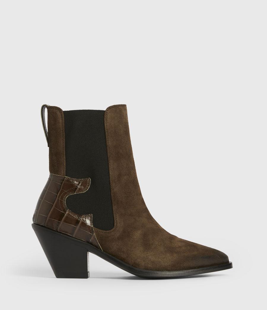 Womens Sara Suede Boots (dark_khaki) - Image 1