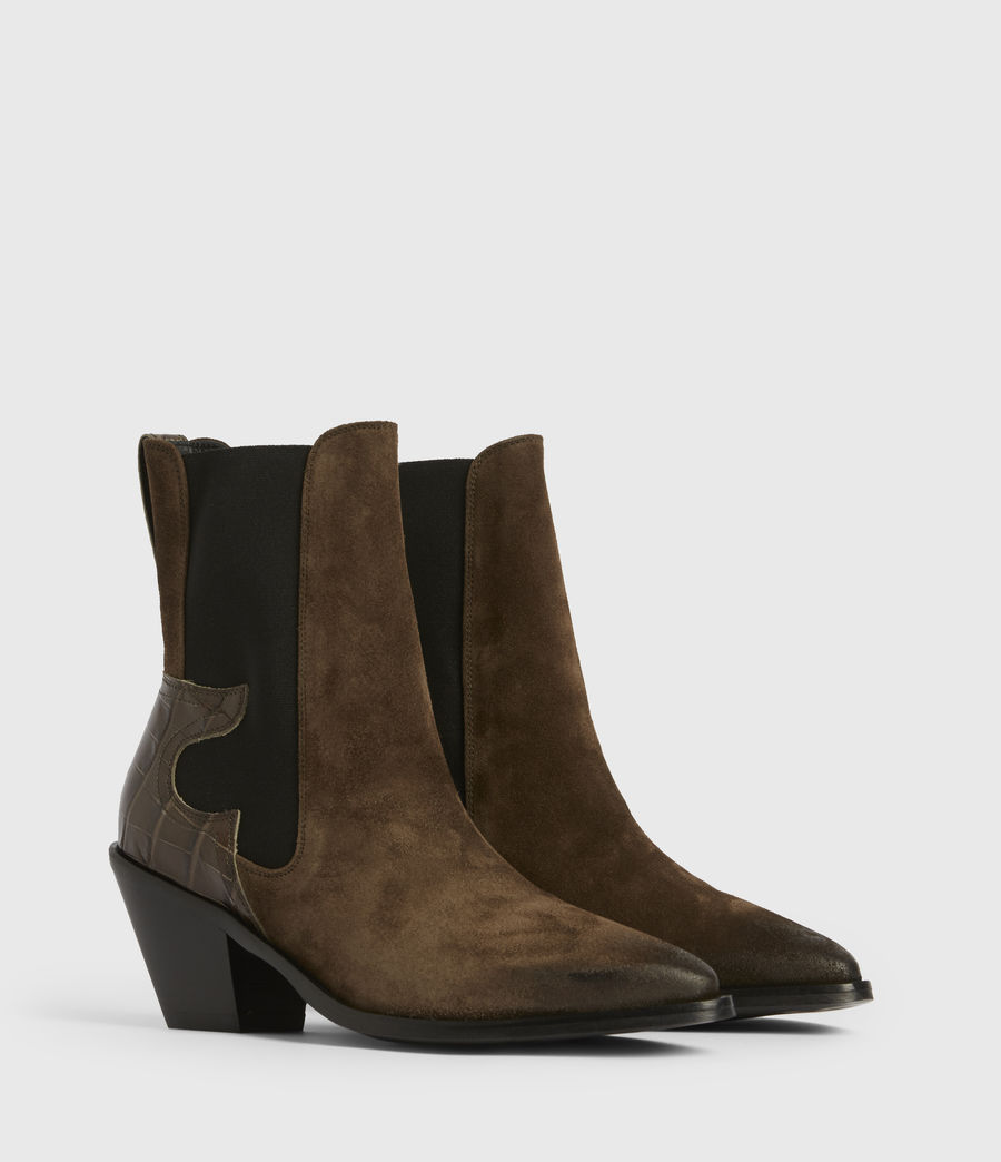 Womens Sara Suede Boots (dark_khaki) - Image 3