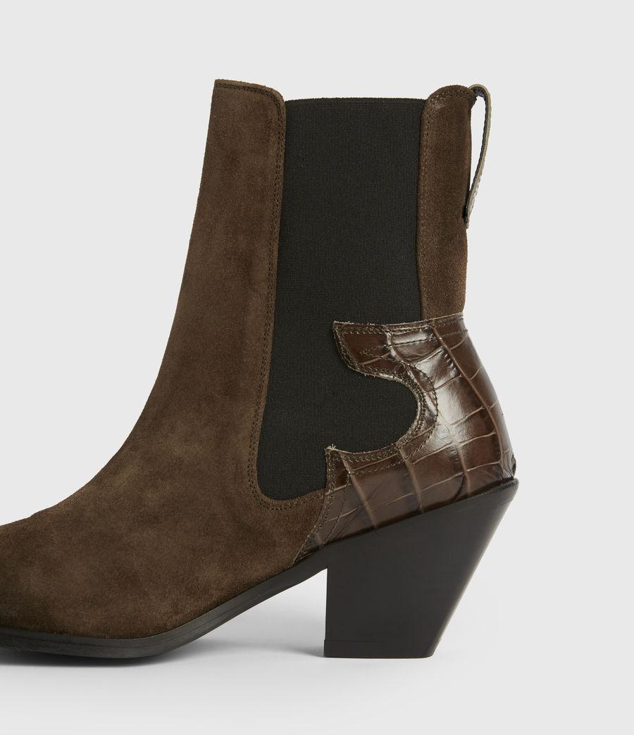 Womens Sara Suede Boots (dark_khaki) - Image 5