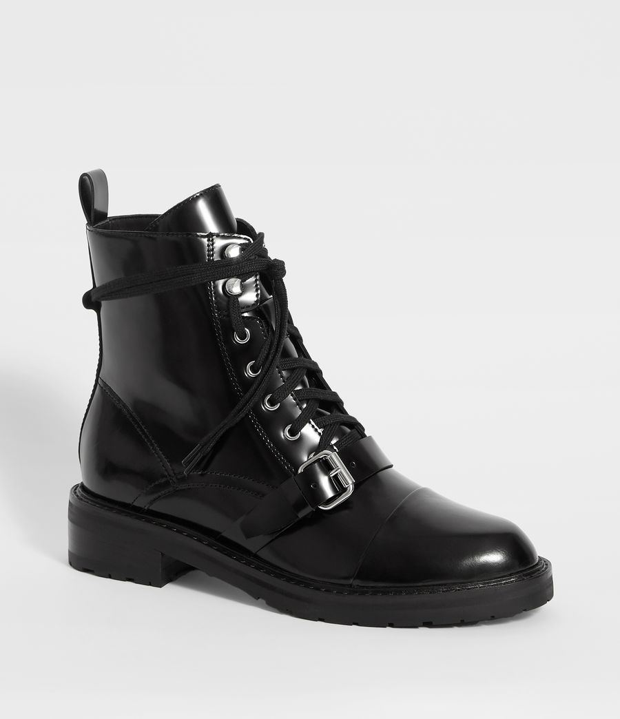 Womens Donita Leather Ankle Boots (black) - Image 3