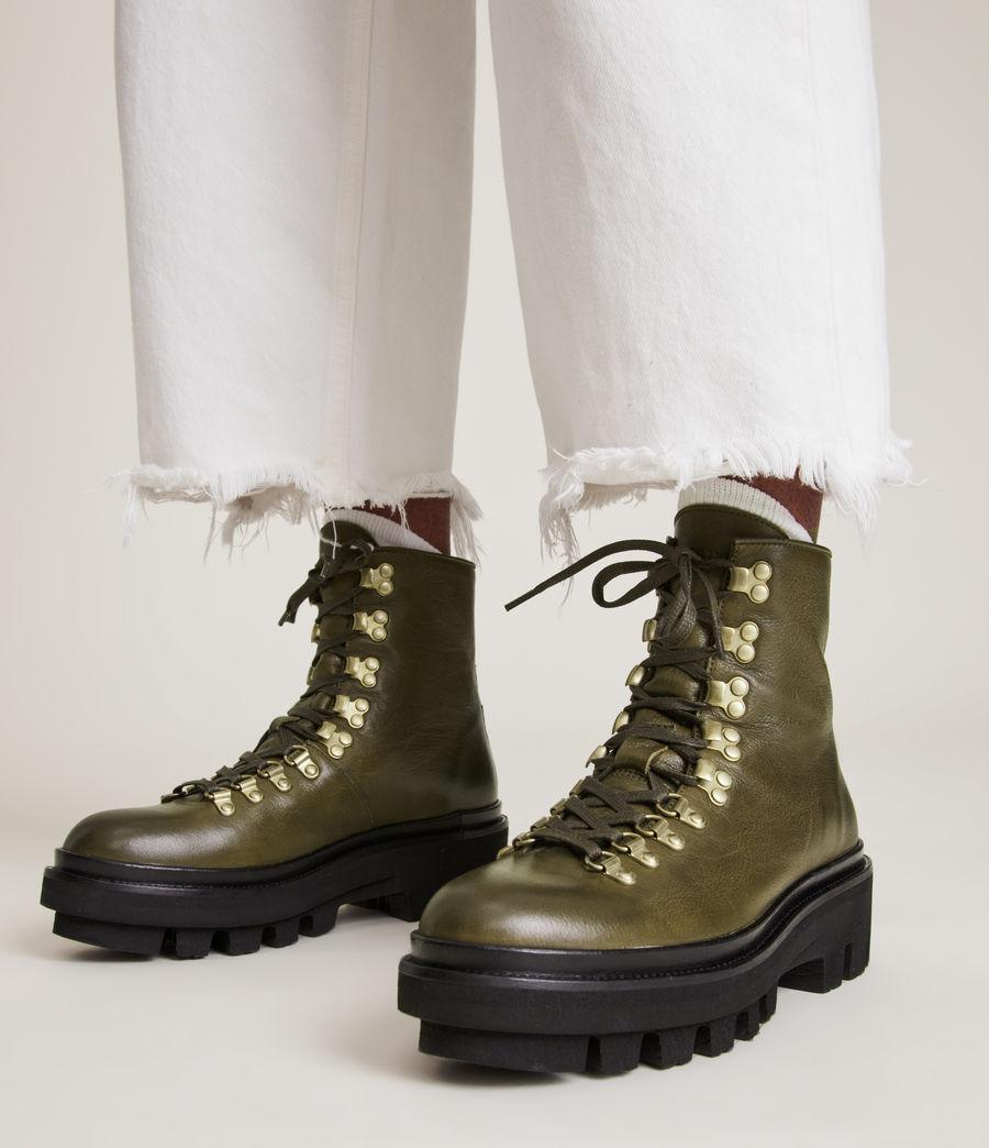 Women's Wanda Leather Boots (khaki_green) - Image 2