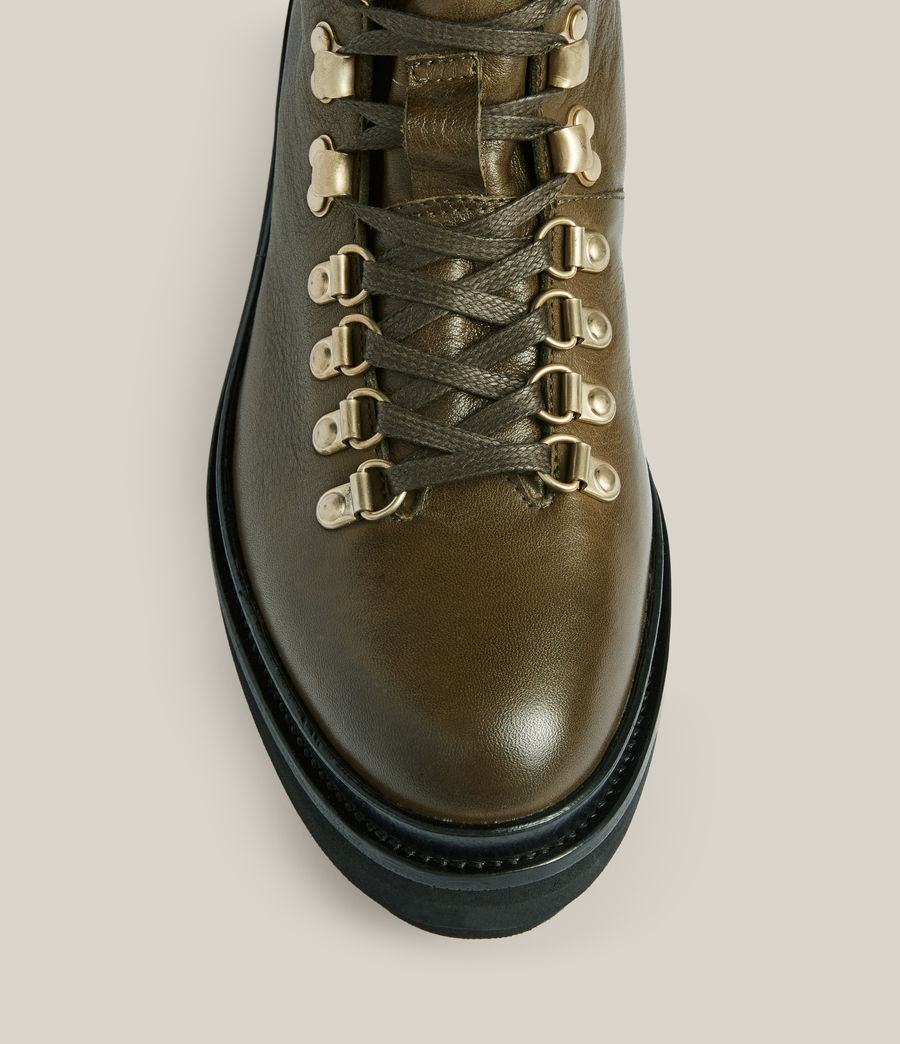 Women's Wanda Leather Boots (khaki_green) - Image 3