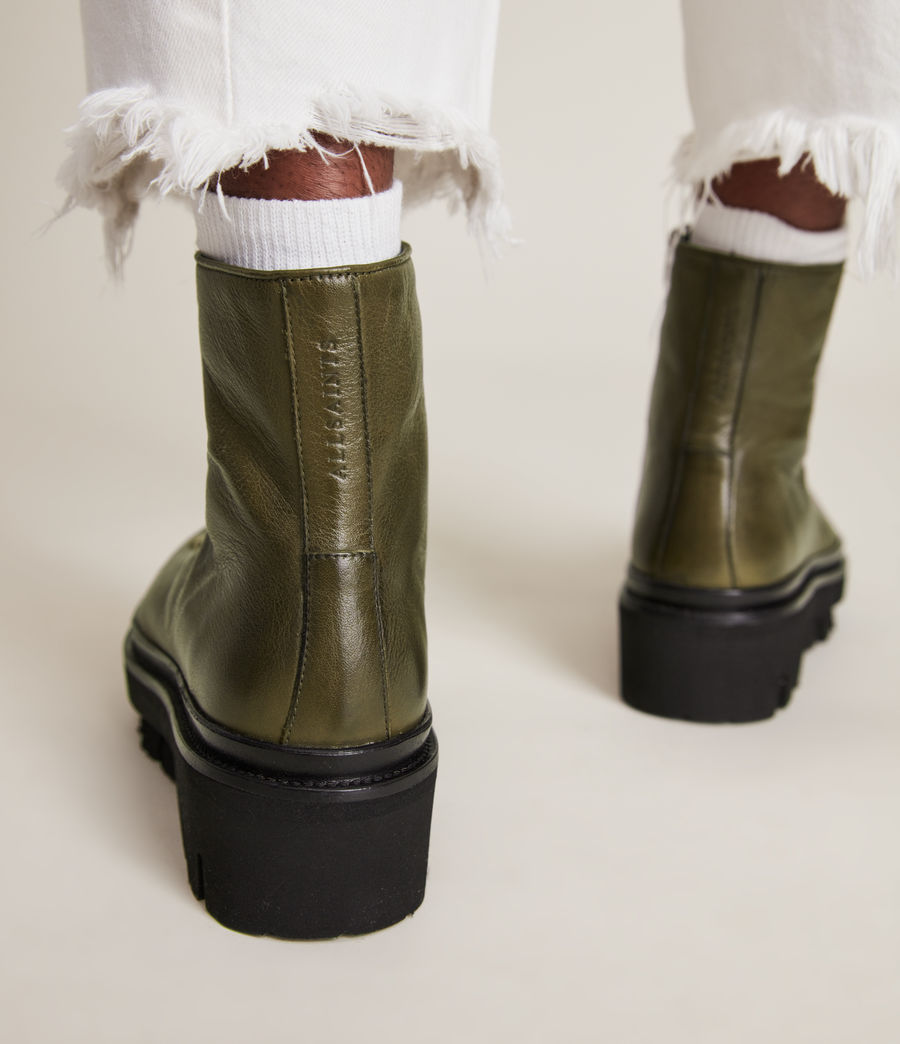 Women's Wanda Leather Boots (khaki_green) - Image 4