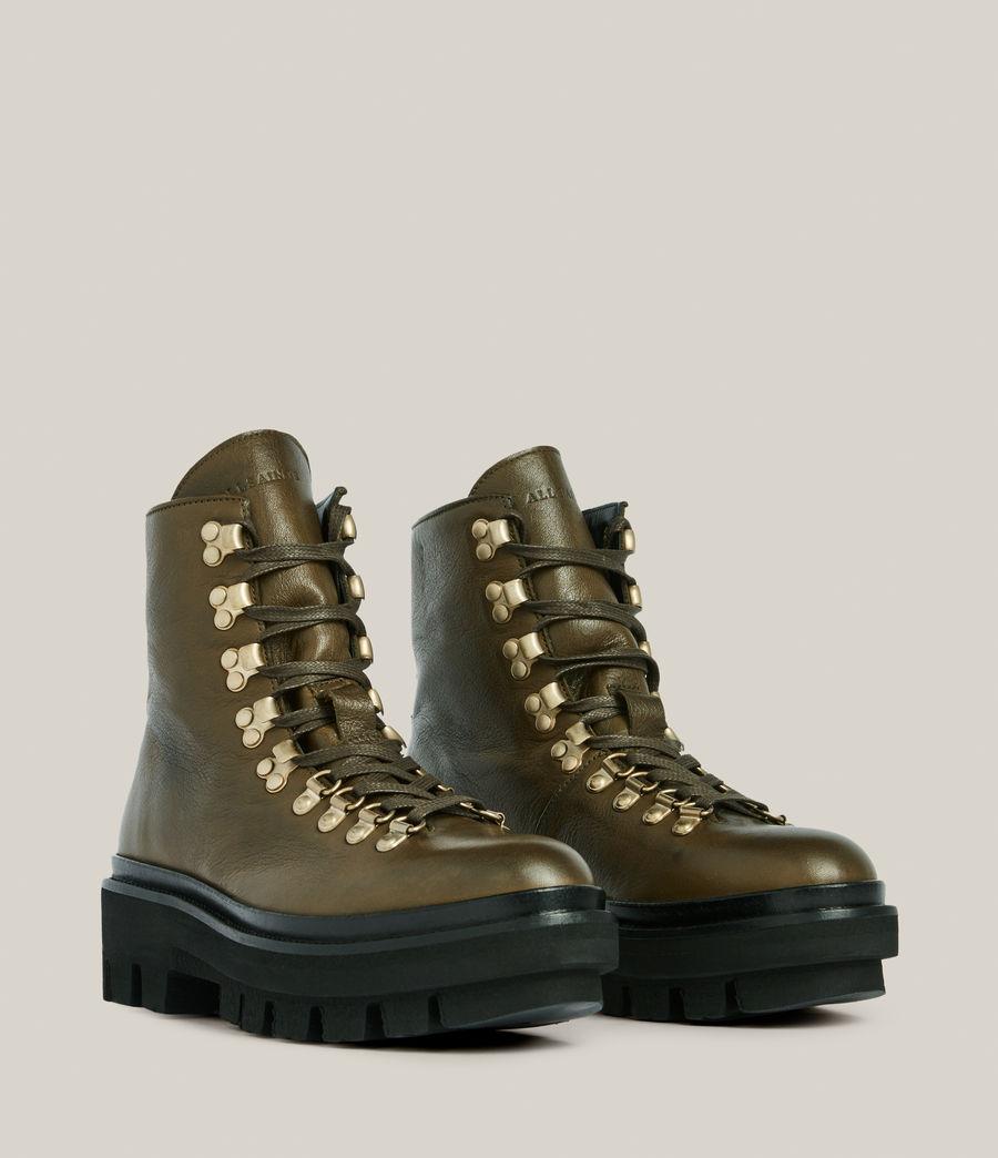 Women's Wanda Leather Boots (khaki_green) - Image 5