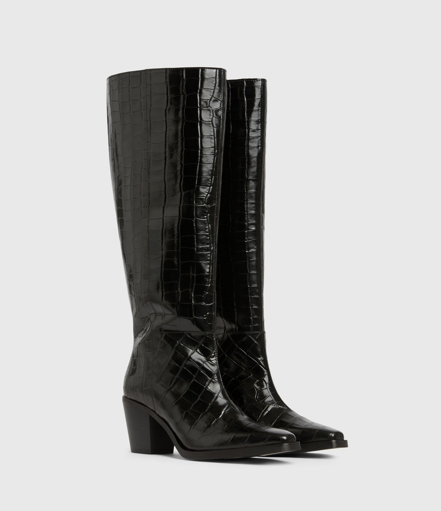 Women's Cohen Crocodile Knee High Leather Boots (black) - Image 3