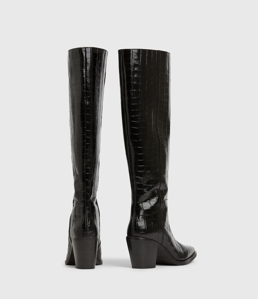Women's Cohen Crocodile Knee High Leather Boots (black) - Image 5