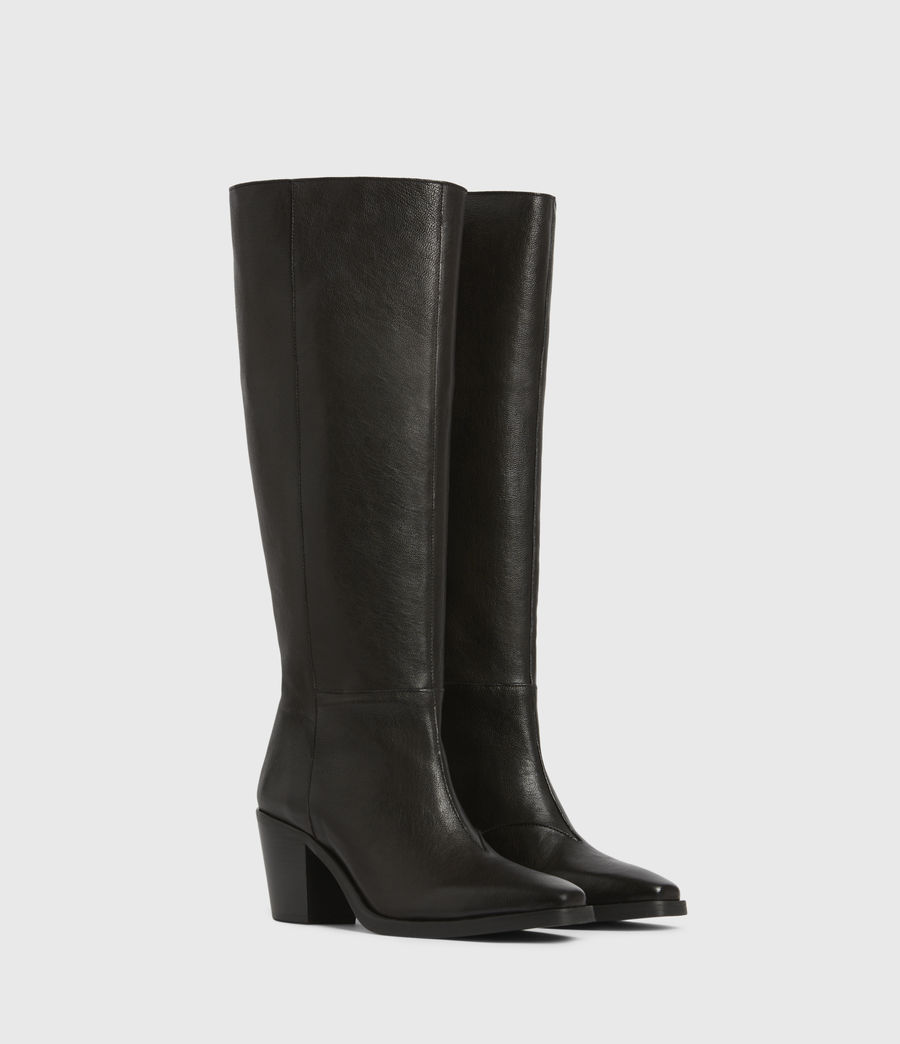Women's Cohen Knee High Leather Boots (black) - Image 3