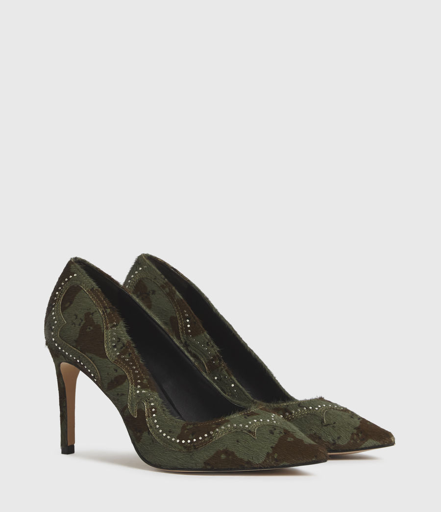 Mujer Zehra Leather Court Shoes (camo) - Image 3