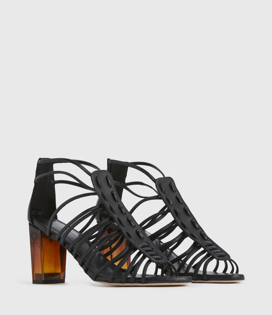 Womens Pia Leather Sandals (black) - Image 3
