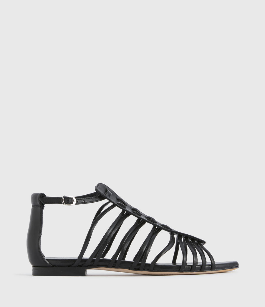 Mujer Fiona Leather Sandals (black) - Image 1
