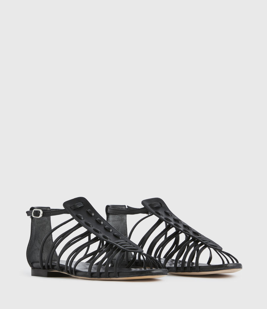 Mujer Fiona Leather Sandals (black) - Image 3
