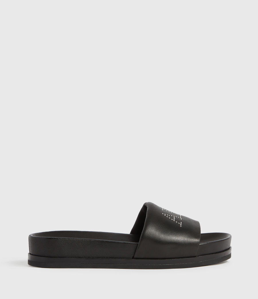 Womens Sophie Leather Slides (black) - Image 1
