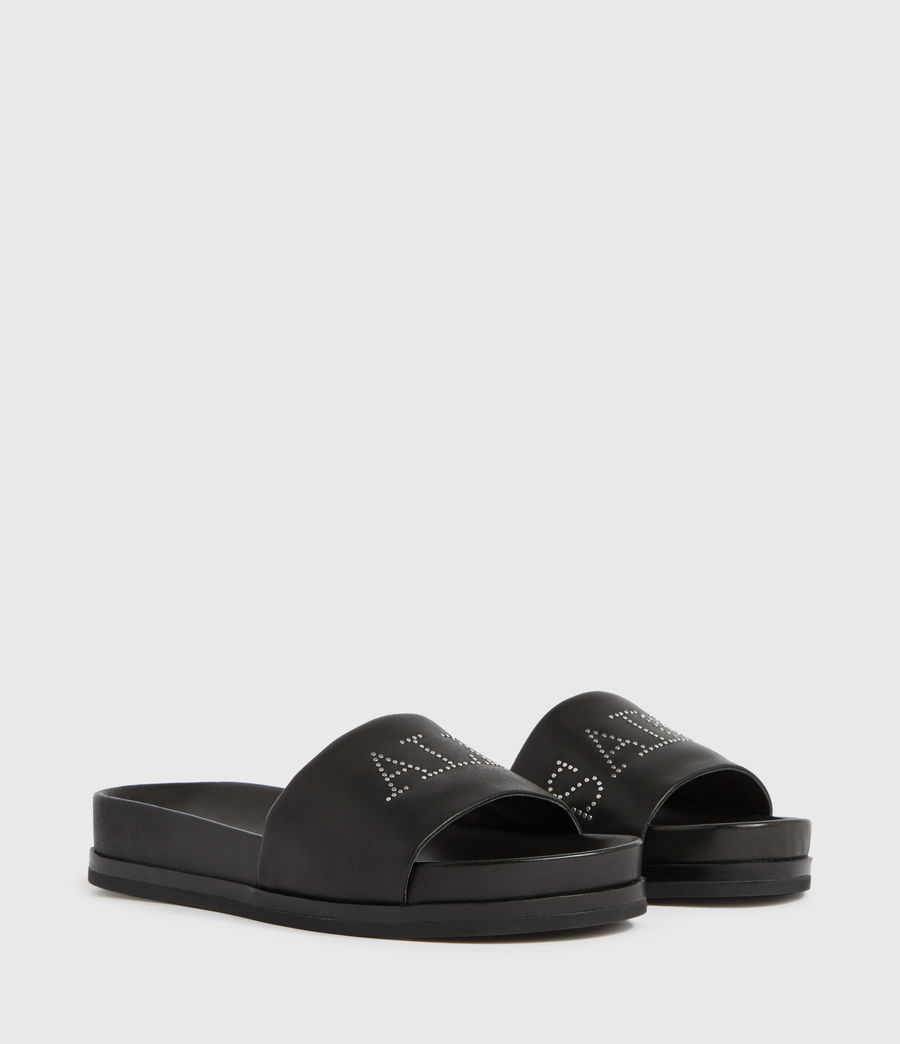 Womens Sophie Leather Slides (black) - Image 3