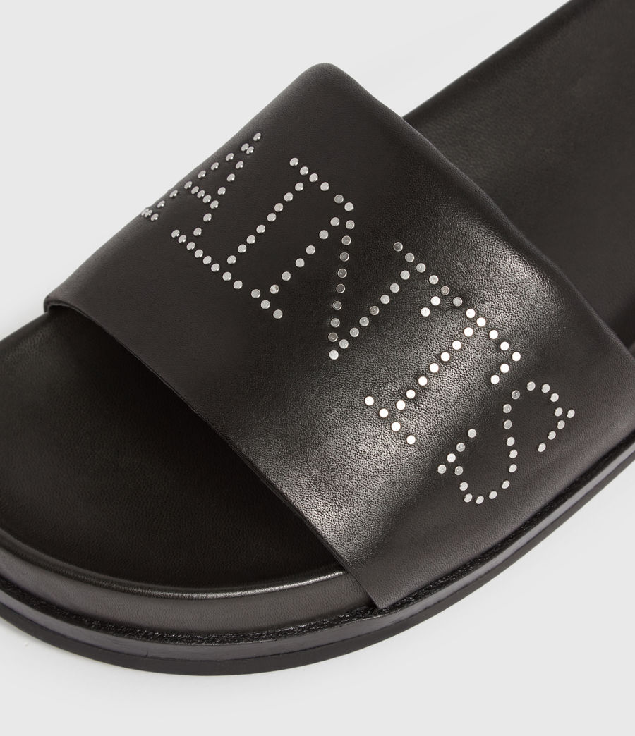 Womens Sophie Leather Slides (black) - Image 4